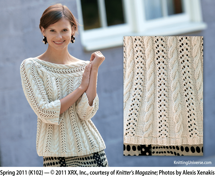 Cable Knitting Patterns: Nautical Notes Sweater