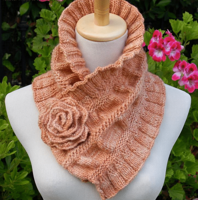 Ruffled Ruched Knit Scarf